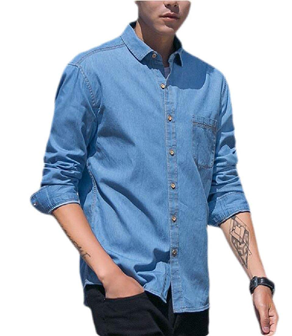 Jofemuho Mens Denim Long Sleeve Relaxed Fit Button Down Shirts
