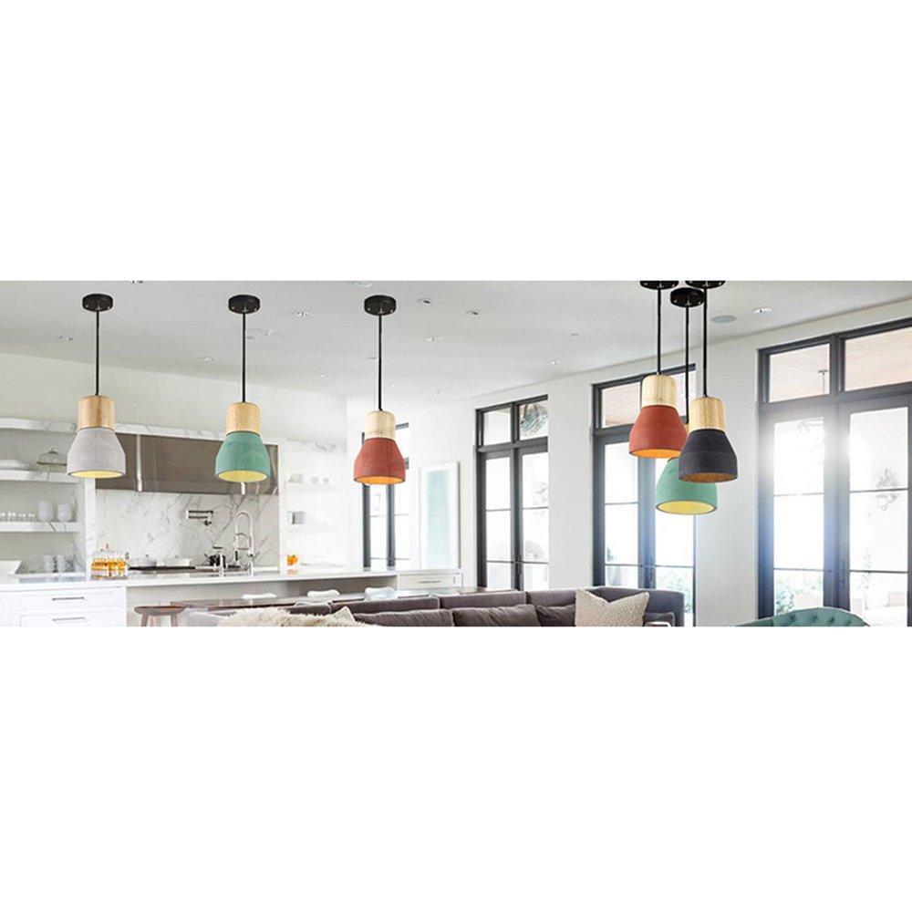 Concrete Color Motent Industrial Vintage 4.7 inches Dia Minimalist Cement Ceiling Light With Wood Lampholder Concrete Hanging Light Fixture for Resturant Bar Kitchen Loft Oak Pendant Light