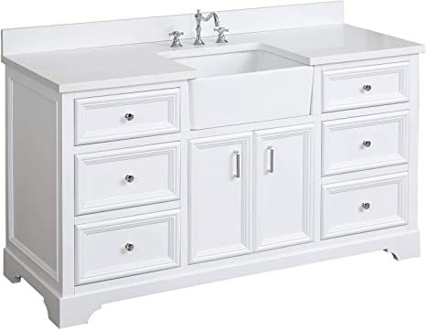 Amazon Com Zelda 60 Inch Single Bathroom Vanity Quartz White Includes White Cabinet With Stunning Quartz Countertop And White Ceramic Farmhouse Apron Sink Kitchen Dining