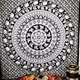Mntreal Tpassier Black White series LARGE QUEEN SIZE Indian Hippy elephant Tapestries,bed sheets ,bed spread,hippy bed sheets,wall hangings,ethnic decor,home decor bed sheets,throw,picknic blankets,dorm tapestries By Montreal Tappesier
