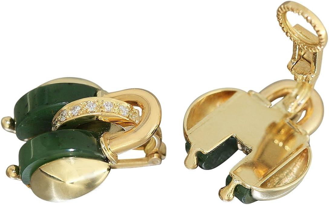 Hobra-Gold clips para las orejas oro diseñador 750 MIT brillante y Jade pendientes de oro pendientes