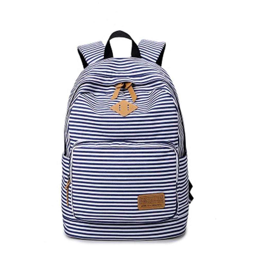 キャンバス軽量学生用バックパック 女の子用 カジュアル かわいい 旅行 ノートパソコン ショルダーバッグ ブルー dgt-stripebag-blue B07GBMJVJW stripes blue