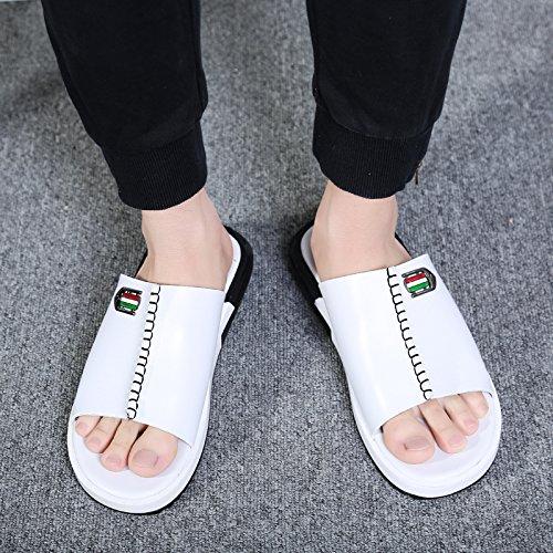 Xing Lin Sandalias De Hombre Nuevo Acolchado Zapatos De Hombre Zapatilla Tendencia Flip-Flops Sandalias Deporte Masculino Zapatillas Casual 39A1537 Blanco
