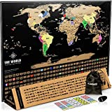Landmass Scratch Off World Map Poster. 17x24 Black and Gold Travel Tracker Map w/Flags, US States Outlined. Clean Design and Vibrant Colors to Make Your Story Come to Life. The Gift Travelers Want.