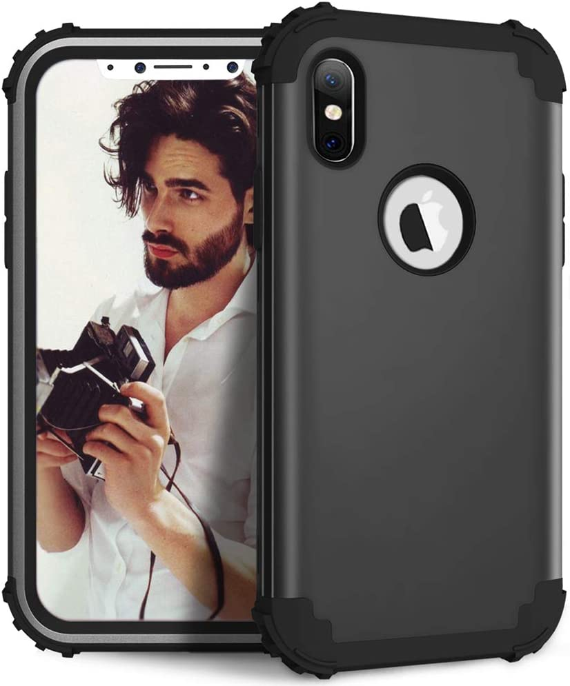 Phone Case for iPhone Xs X 10 10s Hard Cover Shockproof Silicone Bumper Hybrid Heavy Duty Protective Cell Accessories iPhoneX iPhoneXs iPhone10 i PhoneX SX 10x 10xs X's Cases Women Men Black