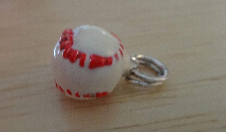 Sterling Silver 3D 11mm Red /& White Enamel Baseball Softball Charm