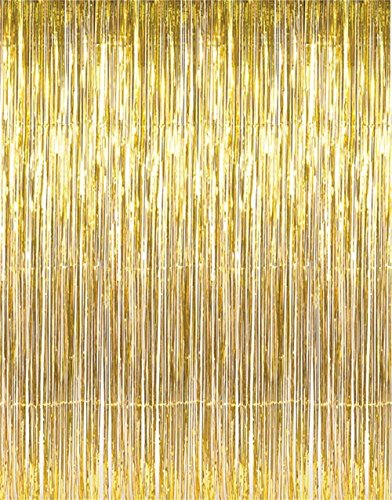 Gold Metallic Tinsel Foil Fringe Curtains Party Photo Booth Props| Backdrop| Wedding Décor| Baby Shower| Graduations| Valentine Day| Bachelorette| Birthday Party| Door Supplies Decorations Two Pack