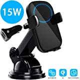 15W Qi Car Fast Wireless Car Charger Mount Auto Infrared Induction Fast Charger Qi Dock Air Vent Phone Holder Compatible with iPhone XS/XS Max/XR/X/8/8plus/Samsung HUAWEI MateRS