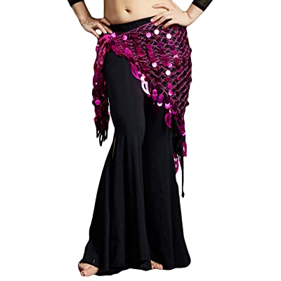 2020 Argentina Magenta Triangle Fringed Belly Dance Hip Scarf Shawl Covered with Sequins-Performance at Amazon Women's Clothing store