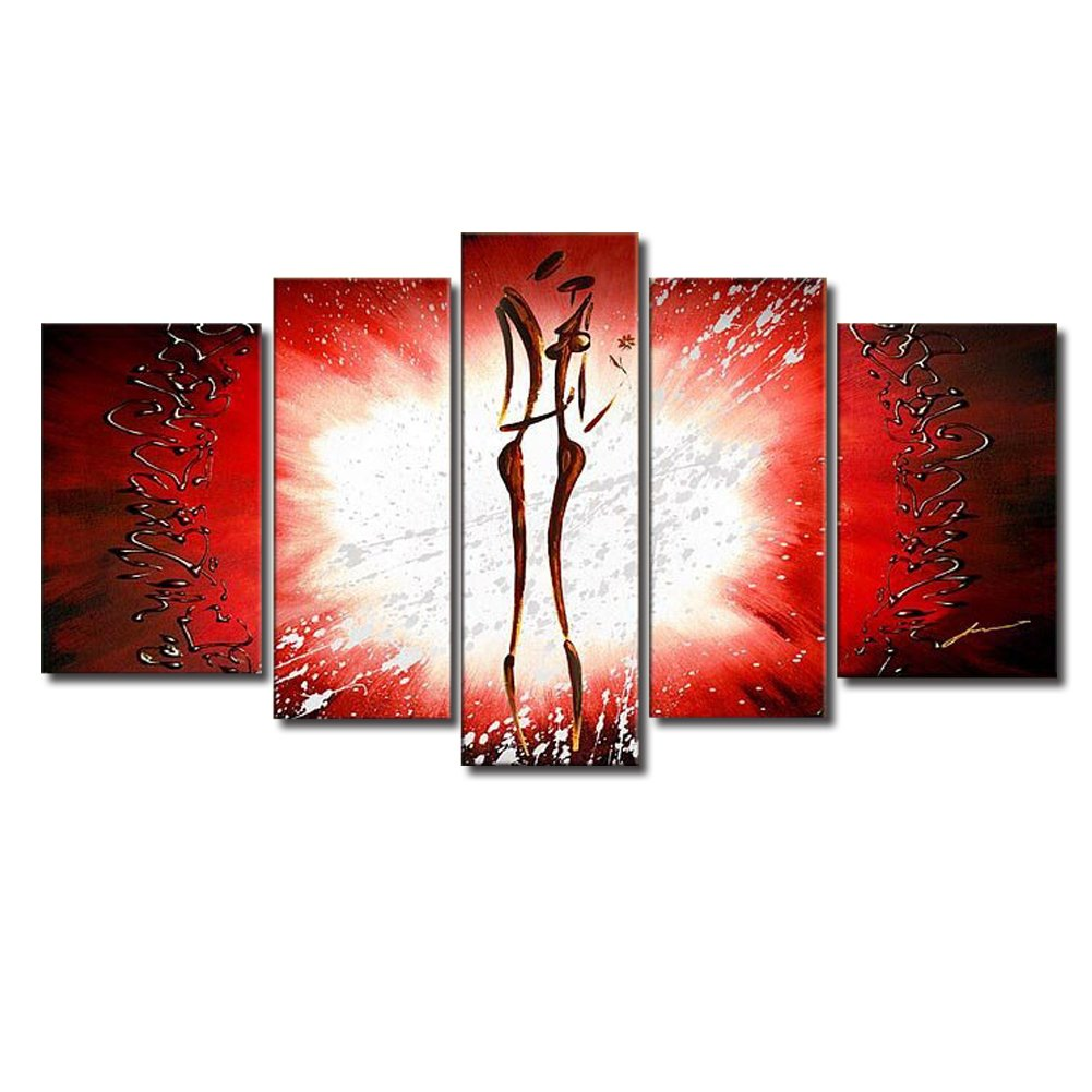 5 Piece Set Newest Design Couple Dance By Shinning Light Red Background Artwork Oil Painting Modern Abstract Canvas Stretched Wood Framed Home Decoration Bedroom Living Room Wall Decor by uLinked Art