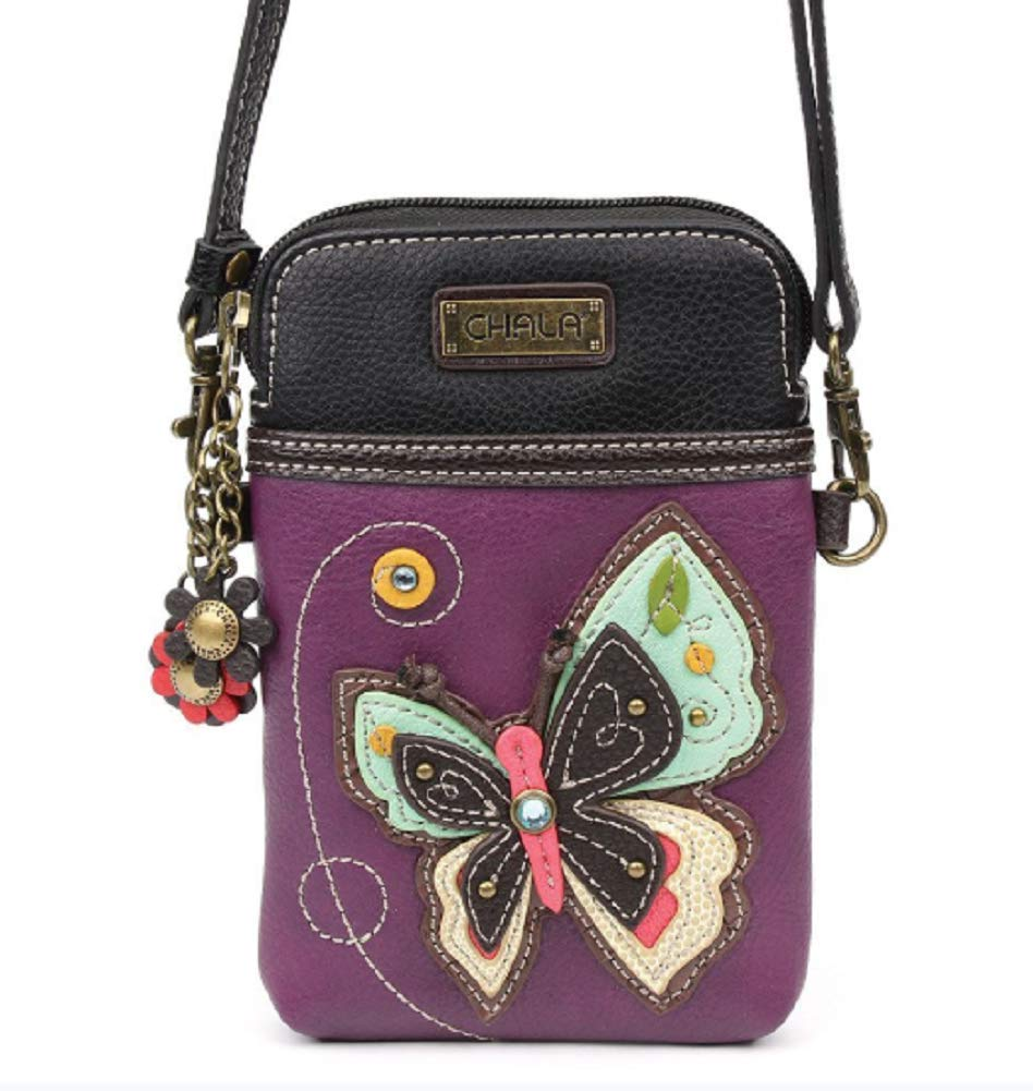 Chala Crossbody Cell Phone Purse - Women PU Leather Multicolor Handbag with Adjustable Strap - New Butterfly Purple by CHALA