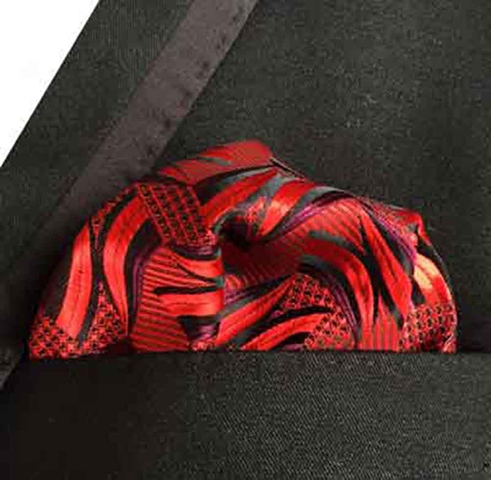 MOHSLEE Men Light Red Floral Silk Suit Cravat Ties Woven Ascot Pocket Square Set