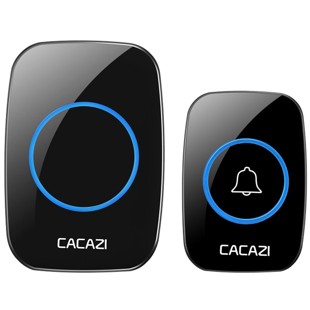 CACAZI Waterproof Wireless Doorbell Operating at over 500-feet Range with Over 38 Chimes, No Batteries Required for Receiver, LED Flash (BLACK)