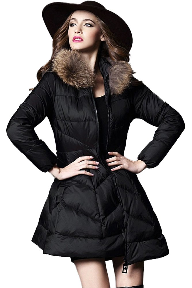 Queenshiny New Style Women's Loose Hem Down Coat with Raccoon Collar-Black-XS(0-2)