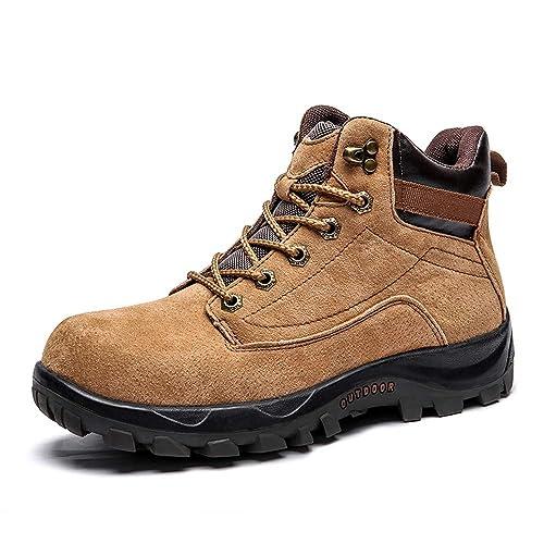 Botas de Hombre Trabajo Deportivas Montaña Subida Zapatos de Seguridad Táctica Plataforma Impermeables Ante Botines de