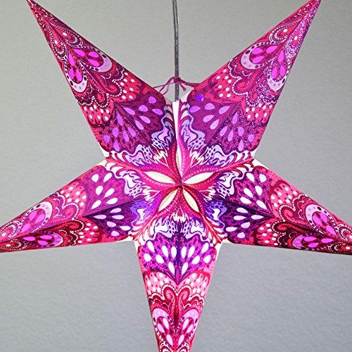 Quasimoon PaperLanternStore.com 24 Inch Pink Heart's Desire Glitter Paper Star Lantern, Hanging Decoration