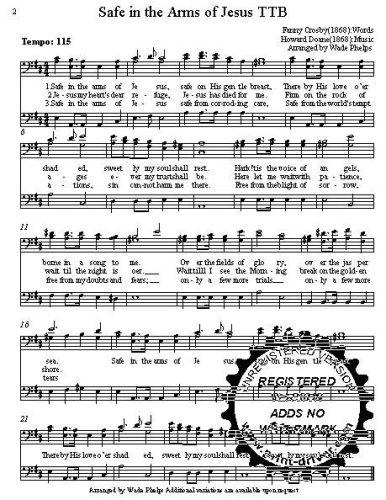 Safe in the Arms of Jesus  A cappella for  TBB Choral Sheet Music