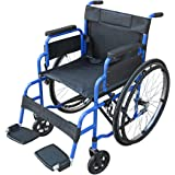 Pandamoto Wheelchair Puncture Resistant Self Propel Folding Portable Propelled Wheel chair (S1 Blue)
