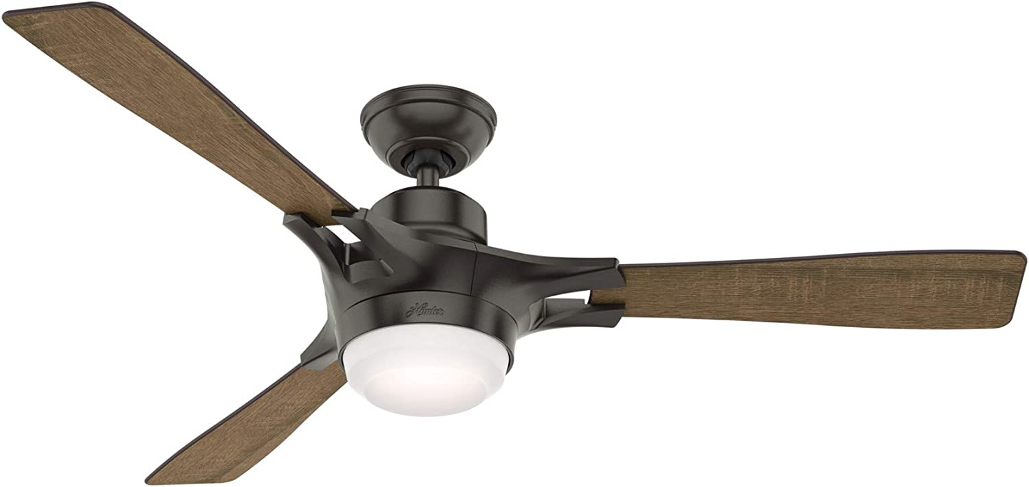 Hunter Indoor Wifi Ceiling Fan with LED Light and remote control - Signal 54 inch, Nobel Bronze, 59379