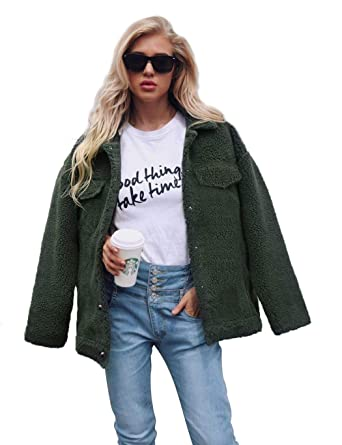 490bc59e31 Alofin Iloits Women Casual Turn-Down Collar Long Sleeve Solid Loose Winter  Coats Jackets  Amazon.co.uk  Clothing