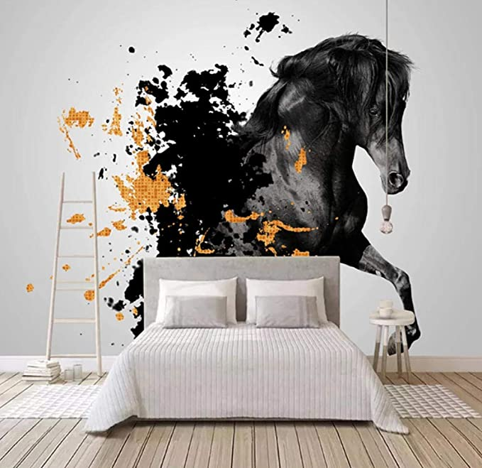Self Adhesive Waterproof Canvas Mural Wallpaper 3d Ink Black Horse Photo Wall Paper Abstract Art Study Living Room 3d Home Decor Amazon Com
