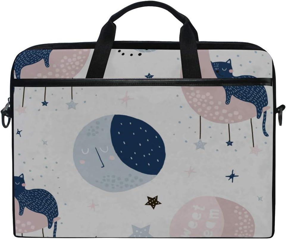 Briefcase Messenger Shoulder Bag for Men Women Laptop Bag Childish Pattern Cats On Moons 15-15.4 Inch Laptop Case College Students Business People