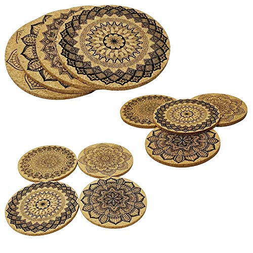 (Natural Cork Coasters With Round Edge 4 inches 8pc Set - 1/5