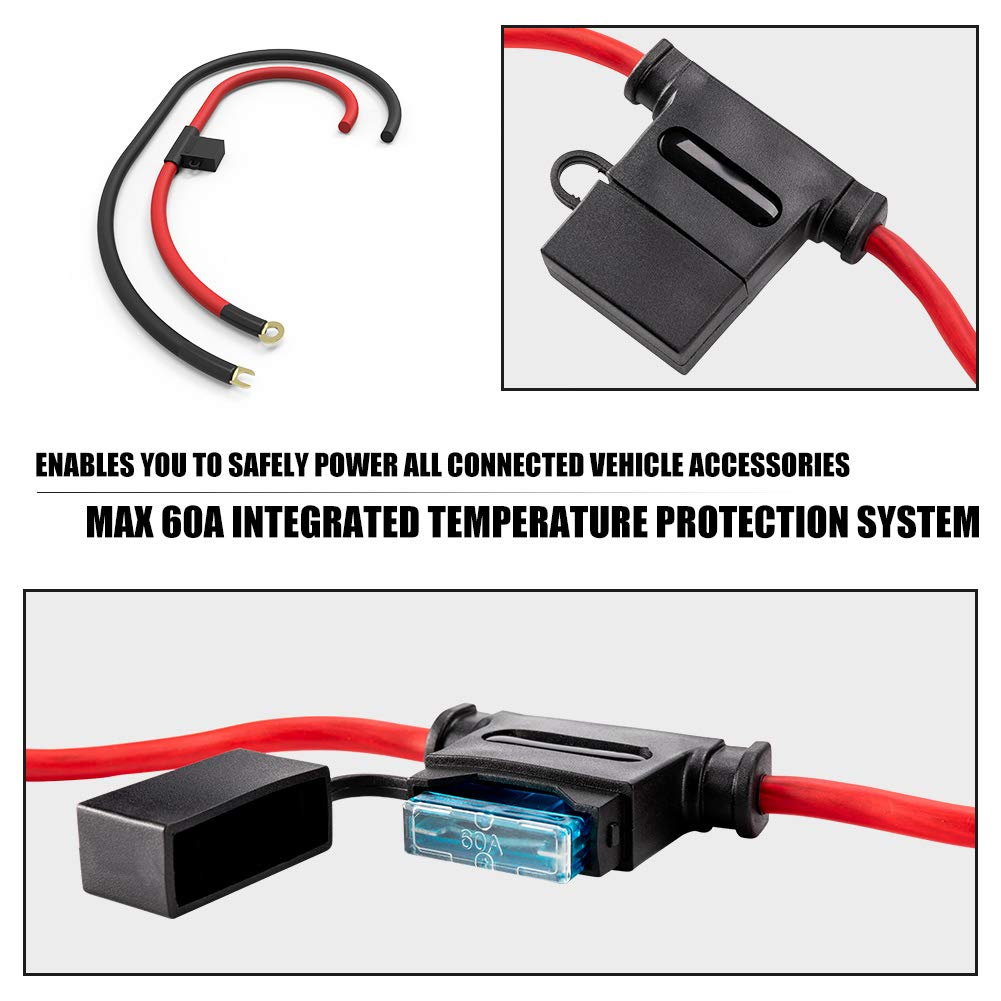 Electronic 8 Relay System Module FieryRed Wiring Control Box Power up to 8 Accessories and LED Off Road Light Bars Wiring Harness Kit With FREE Wireless Remote Control