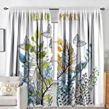 Petpany Rod Pocket Drapes Floral,Hello Summer with Watercolor Fern Branch Butterfly Harvest Season Paint,Amber Olive Green Blue,All Season Thermal Insulated Noise Reduce Curtains 72'x96'