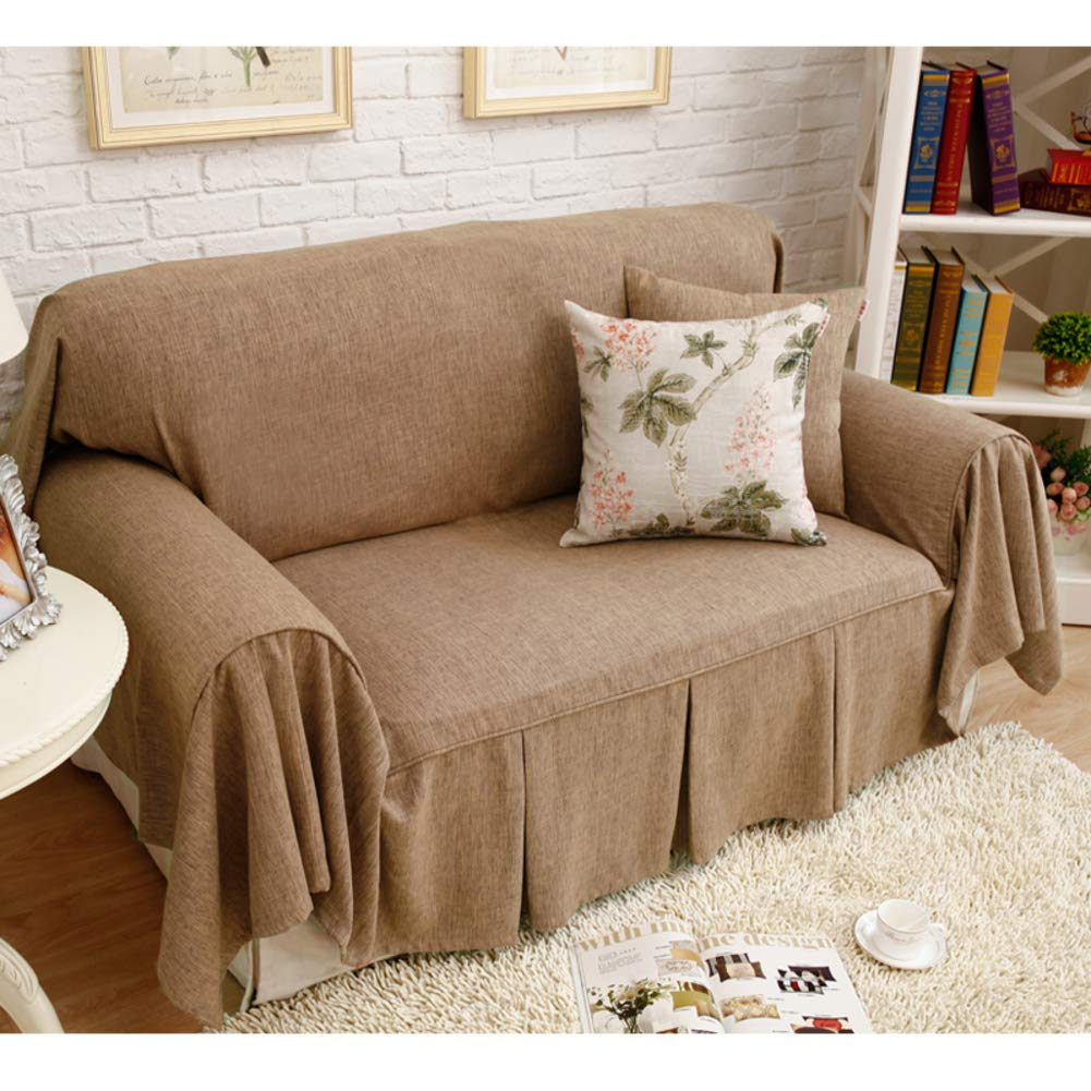 Yearly linen skirt couch covers fit couch durable furniture protectors for 1 2 3 4 sofa cushion of machine washable fabric slipcover sofa 1 pcs brown