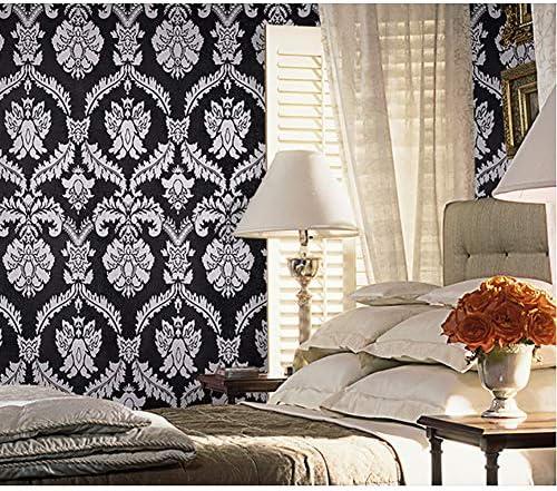 ピールとスティックダマスク 壁紙,自己-接着剤防水コンタクトペーパー,ベッドルームリビングルームキッチン用装飾壁カバー ブラック 0.45*10m