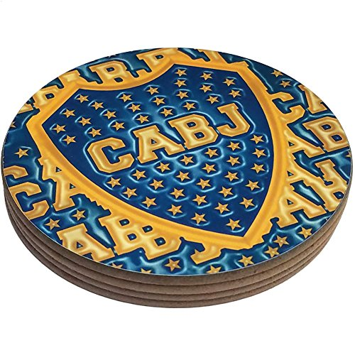 fan products of Four Round Coasters Glossy Custom Plastic Effect Argentina Futbol Soccer Boca Juniors