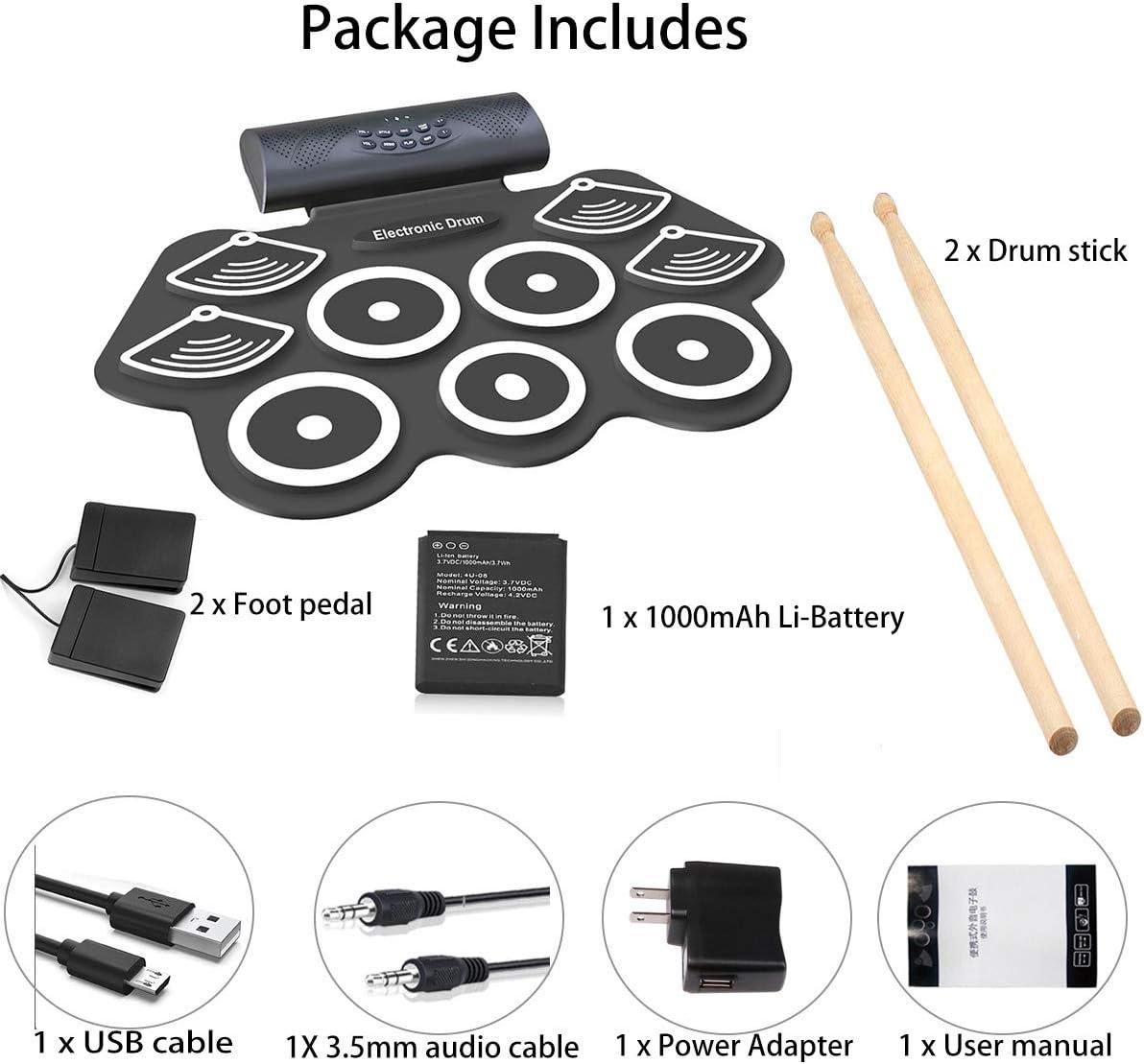 ghdonat.com Kids Drum Set Built in Speaker Rechargeable Battery ...