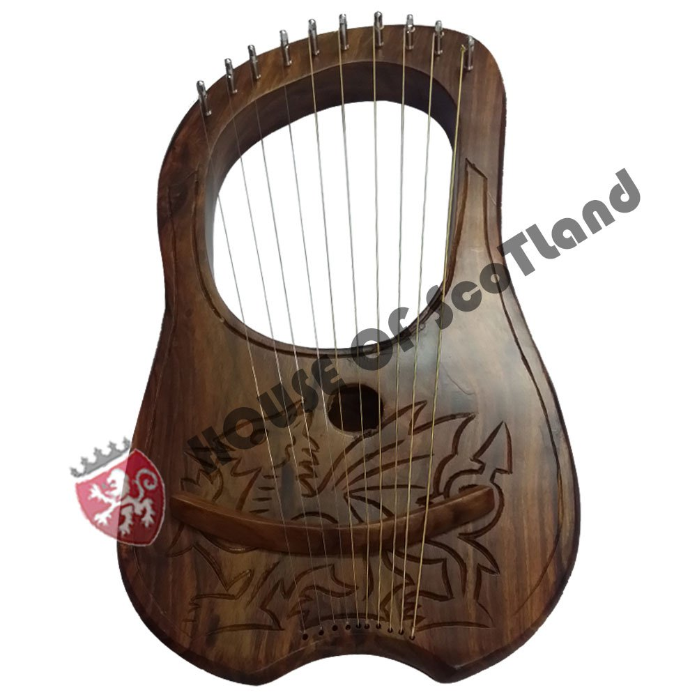 HS Lyre Harp 10 Metal String Instrument Shesham Wood/Lyra Harps/Lyre Harfe/Arpa (WELSH DRAGON DESIGN) by House Of Scotland