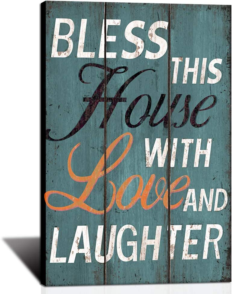 KLVOS Kitchen Wall Art Canvas Picture | Bless This Home with Love and Laughter | Family Love Quote Artwork for Dining Room Motivational Sweet Home Painting Decoration Ready to Hang 16x24inch