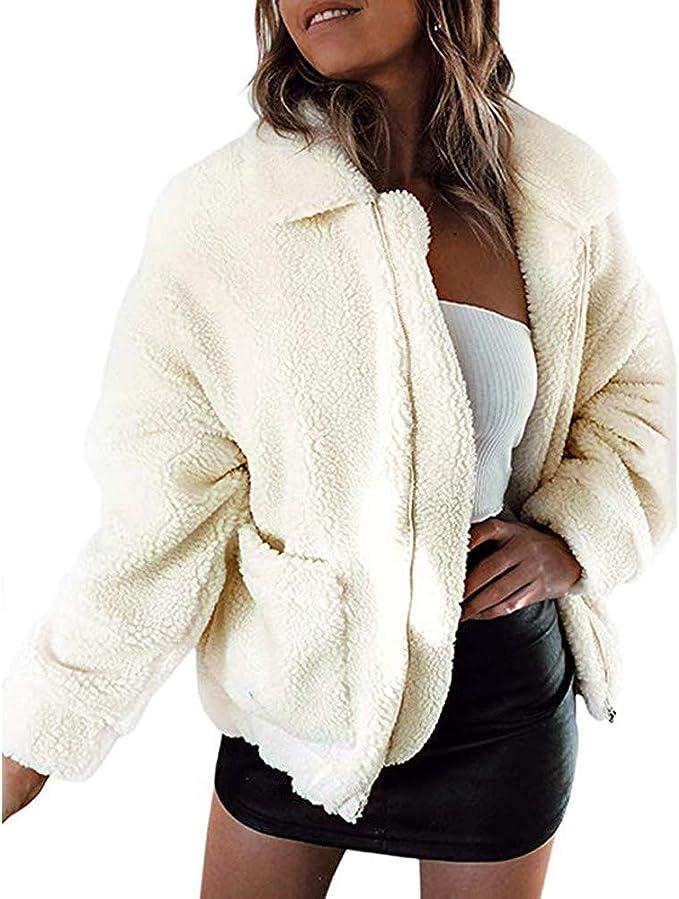 Mode Lässig Wollmantel mit Reißverschluss – Cindyrosy
