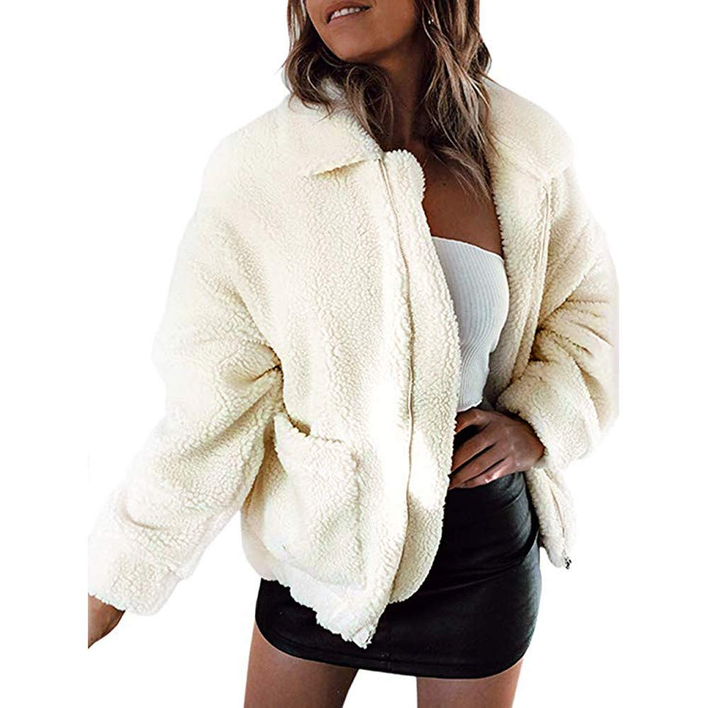 Womens Coat Clearance,DEATU Ladies Teen Winter Warm Parka Outwear Overcoat Coat Casual Jacket(Beige,M)