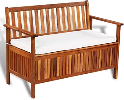 """Outdoor Furniture Patio Solid Storage Bench Cushion Classic Bench with Storage Space Box Elegant Garden Outdoor Deck Wood Bench 47"""" x 25"""" x 33"""""""
