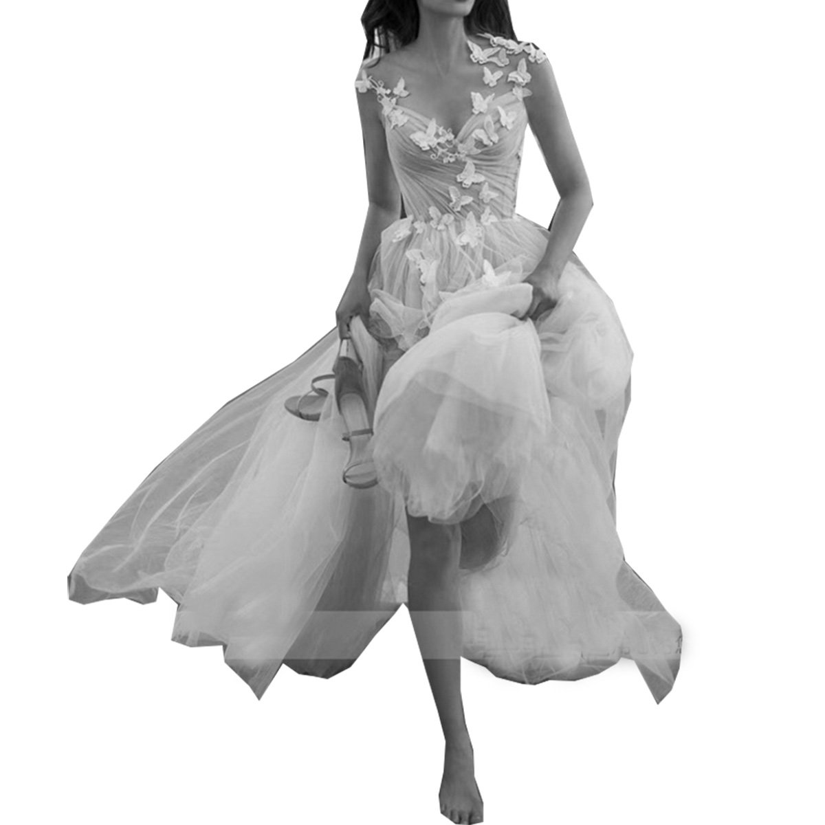 c2dd98033c83 Molixin Tuller Simply Beach Wedding Gowns Boho Halter Prom Dresses at  Amazon Women's Clothing store:
