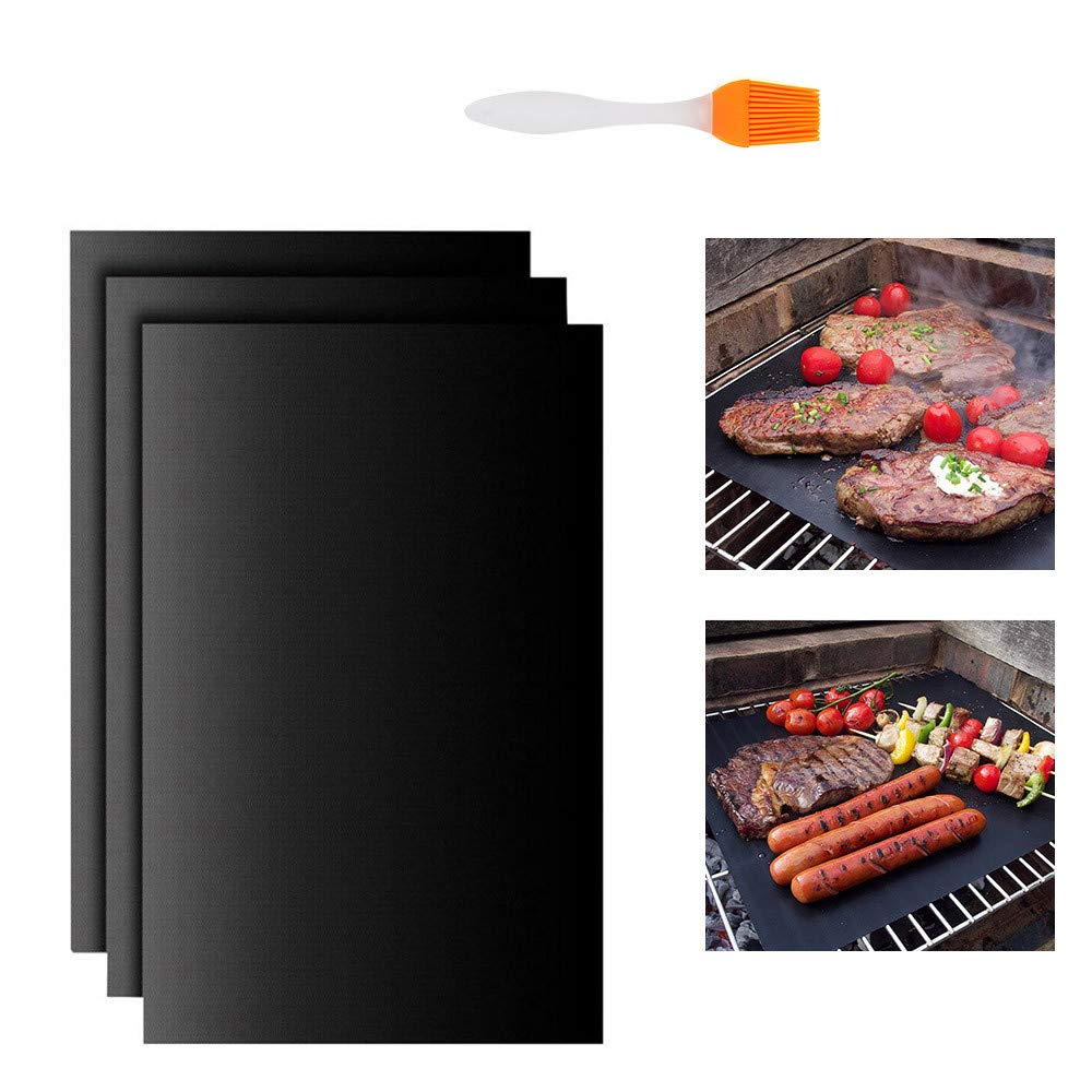 ATPWONZ Large BBQ Grill Mat Non Stick Sheet Oven Liner Teflon Cooking Barbecue Mats Set with A Barbecue Brush (15.7 X 19.7 Inches)