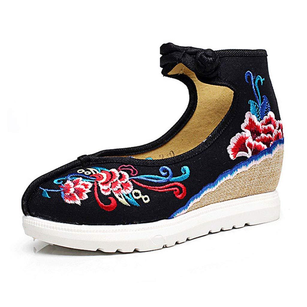 XHX Retro Schwarz Bestickte Schuhe Damen Freizeitschuhe 5cm Mutter Niedrig Heel Damenschuhe Rutschfeste Mutter 5cm Schuhe (Farbe : SCHWARZ, größe : 34) Schwarz 137e05