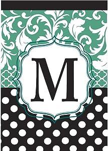 Monogram M Filigree Aqua and Black Polka Dot 18 x 13 Rectangular Double Applique Small Garden Flag