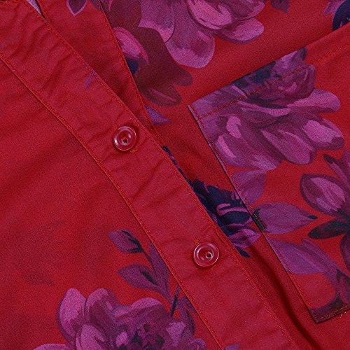 Rouge Pull Femme Longues Chemisier Grande Taille Shirt Shirt Tops T LULIKA Floral Mousseline Imprim Manches PZq6aBUw