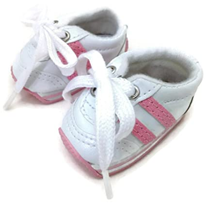 f785afc7226aa Amazon.com: 18 inch Doll Shoes-White with Pink Stripes Mini Sketz ...