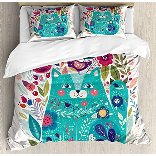 Cheap LAMANDA Queen Size Cat Luxury Soft Duvet Cover Set, Cute Kitty Surrounded by Birds Flowers Ladybugs Inspirational Folk Baby Theme, Decorative 4 Pieces Bedding Sets, Seafoam Multicolor free shipping