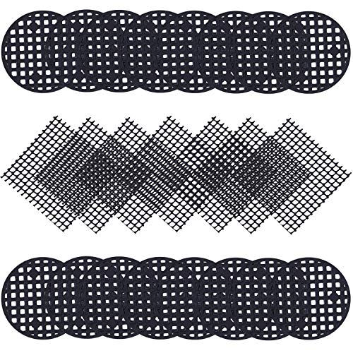 Ruisita 150 Pieces Flower Pot Hole Mesh Pads, 30 Pieces 2 x 2 inches Square Garden's Drainage Plastic Mesh Netting and 120 Pieces 1.8 inches Round Net Pot Bottom Grid Mat for Outdoor Potted ()