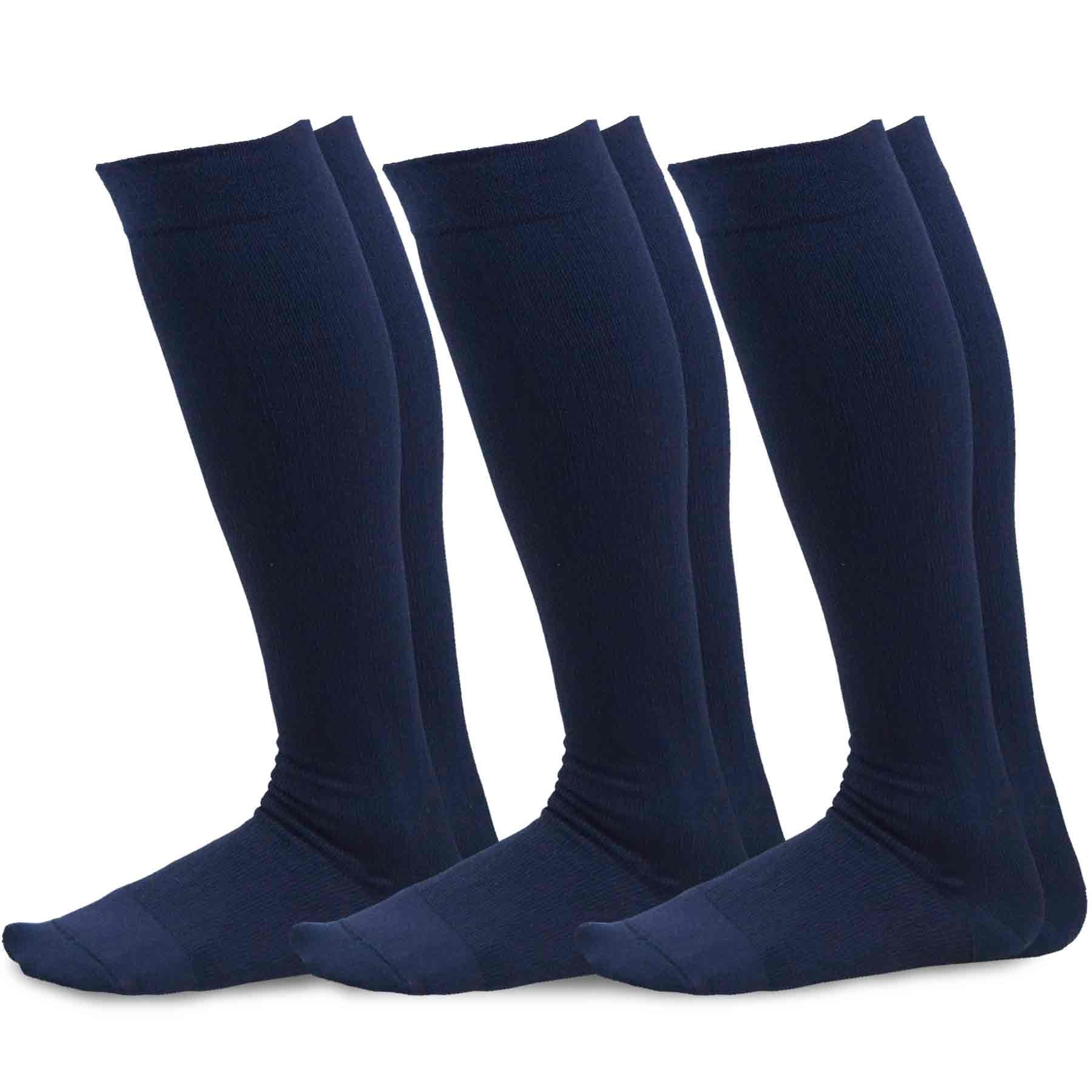 TeeHee Microfiber Compression Knee High Socks with Rib 3-Pack (Small (8-9), Navy)