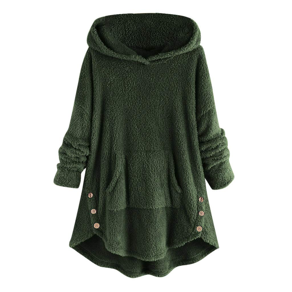 Pullover Sweaters for Women,2019 New Coat Ladies Bottoming Fluffy Tail Tops Loose Hooded Pullover Plus Size Chaofanjiancai (3XL, Green Sweater) by Chaofanjiancai_Coat