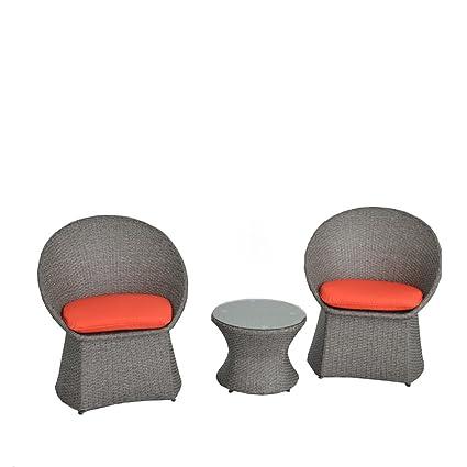 Amazon.com: JETIME - Juego de 3 sillas y mesa de mimbre para ...