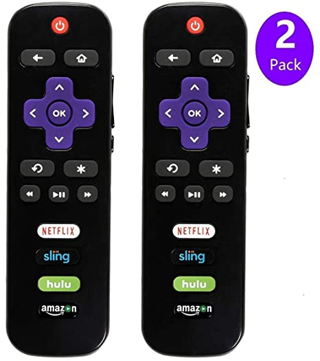 2-Pack TCL RokuTV Remote Control w/Updated 4 Shortcuts (RC280 RC282  Standard IR Replacement for TCL Roku Smart TV)